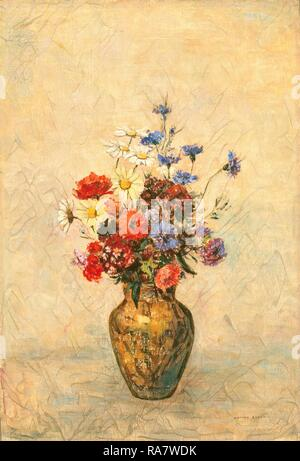 Odilon Redon, Flowers in a Vase, French, 1840 - 1916, c. 1910, oil on canvas. Reimagined by Gibon. Classic art with a reimagined - Stock Photo