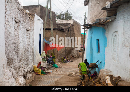 Harar / Ethiopia - May 04 2017: Women selling vegetables on a street in the town of Harar, Ethiopia. - Stock Photo