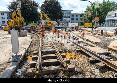 Construction work on tram rails, new construction, renovation of tram railway tracks, Essen, - Stock Photo