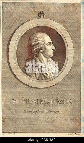 M. Pilatre de Rozier, aeronaut by p. Goulet , engraved by p. Thoenert. Reimagined by Gibon. Classic art with a modern reimagined - Stock Photo