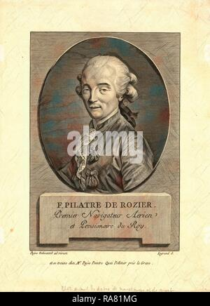 Oval head-and-shoulders portrait of French balloonist Jean-François Pilâtre de Rozier, who took the first balloon reimagined - Stock Photo
