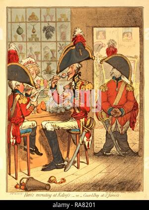 Hero's recruiting at Kelsey's or Guard Day at St. James's, Gillray, James, 1756-1815, engraver, London, engraving reimagined - Stock Photo
