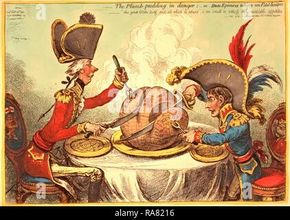 The Plumb pudding in danger, or, State epicures taking un petit souper, William Pitt, wearing a regimental uniform reimagined - Stock Photo