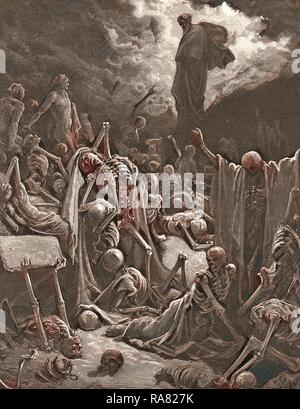 The Vision of the Valley of Dry Bones, Ezekiel by Gustave Doré, 1832 - 1883, French. 1870, Art, Artist, Romanticism reimagined - Stock Photo