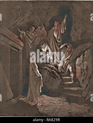 The Resurrection of Lazarus, by Gustave Dore, 1832 - 1883, French. Engraving for the Bible. 1870, Art, Artist, Holy reimagined - Stock Photo