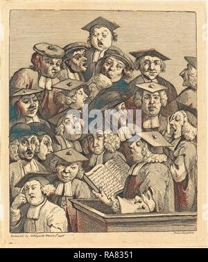 William Hogarth (English, 1697 - 1764), Scholars at a Lecture, 1736-1737, etching and engraving. Reimagined - Stock Photo