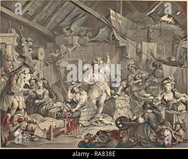 William Hogarth (English, 1697 - 1764), Strolling Actresses Dressing in a Barn, 1738, etching and engraving reimagined - Stock Photo