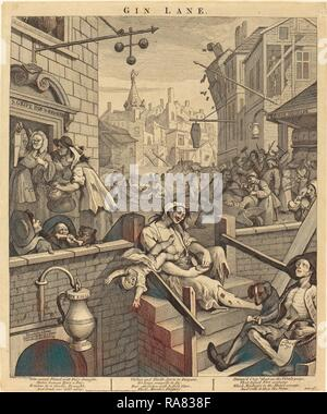William Hogarth (English, 1697 - 1764), Gin Lane, 1751, etching and engraving. Reimagined by Gibon. Classic art with reimagined - Stock Photo