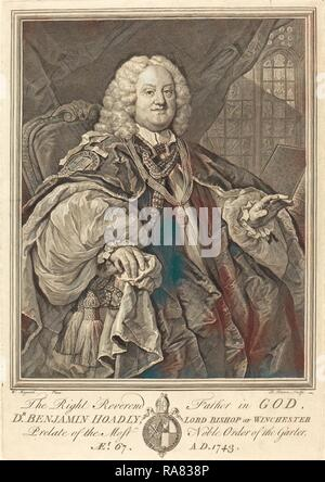 Bernard Baron after William Hogarth (French, 1696 - 1762), Bishop Hoadly, 1743, engraving. Reimagined - Stock Photo