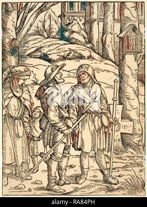 Hans Burgkmair I (German, 1473 - 1531), Pilgrims at a Wayside Shrine, 1508, woodcut in black on laid paper reimagined - Stock Photo