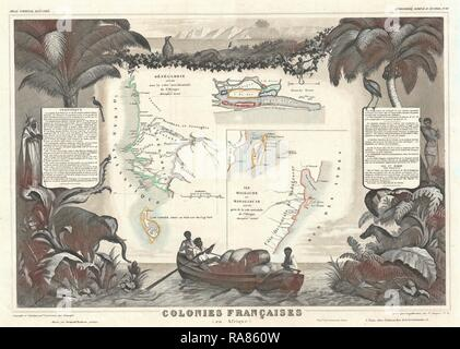 1852, Levassuer Map of Senegal, Senegambia, and Madagascar. Reimagined by Gibon. Classic art with a modern twist reimagined - Stock Photo