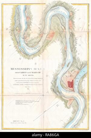 1865, U.S.C.S. Map of the Mississippi River From Cairo, Illinois to St. Marys, Missouri. Reimagined by Gibon. Classic reimagined - Stock Photo