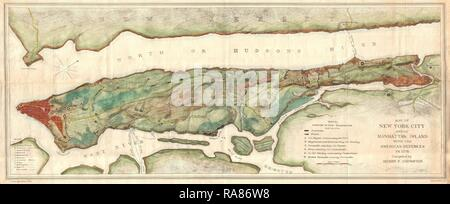 1878, Bien and Johnson Map of New York City, Manhattan Island During the Revolutionary War. Reimagined - Stock Photo