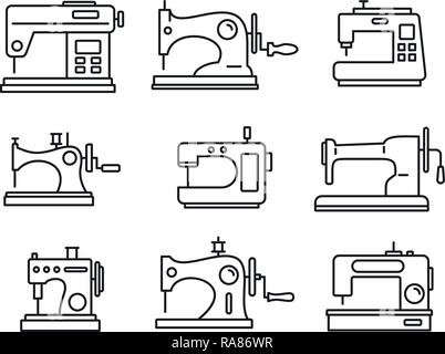Fabric sew machine icon set. Outline set of fabric sew machine vector icons for web design isolated on white background - Stock Photo