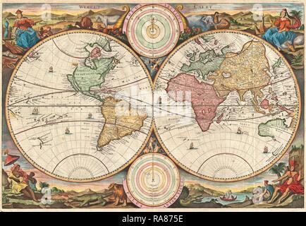 1730, Stoopendaal Map of the World in two Hemispheres. Reimagined by Gibon. Classic art with a modern twist reimagined - Stock Photo