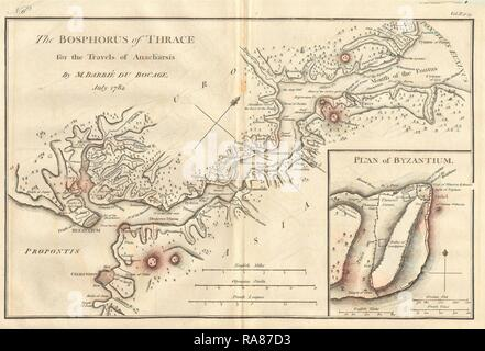 1784, Bocage Map of The Bosphorus and the City of Byzantium, Istanbul, Constantinople. Reimagined by Gibon. Classic reimagined - Stock Photo
