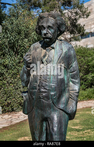 Albert Einstein bronze sculpture by Georgian sculptor Georgy Frangulyan (2015) in Givat Ram or Edmond Safra Campus of the Hebrew University. Jerusalem - Stock Photo