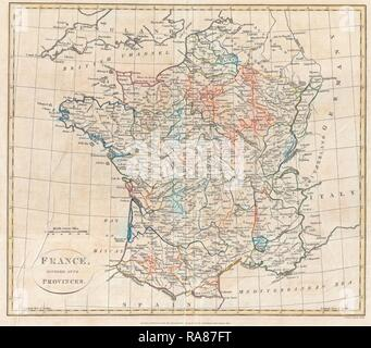 1799, Clement Cruttwell Map of France in Provinces. Reimagined by Gibon. Classic art with a modern twist reimagined - Stock Photo