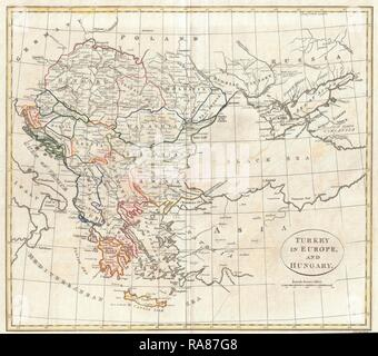 1799, Clement Cruttwell Map of Turkey in Europe. Reimagined by Gibon. Classic art with a modern twist reimagined - Stock Photo