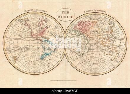 1799, Cruttwell Map of the World in Hemispheres. Reimagined by Gibon. Classic art with a modern twist reimagined - Stock Photo