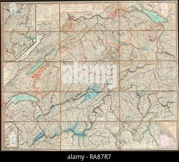 1834, Keller Pocket Map of Switzerland. Reimagined by Gibon. Classic art with a modern twist reimagined - Stock Photo