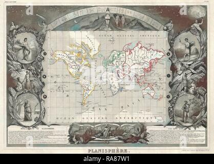 1847, Levasseur Map of the World. Reimagined by Gibon. Classic art with a modern twist reimagined - Stock Photo