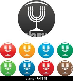 Candles on support icons set 9 color vector isolated on white for any design - Stock Photo