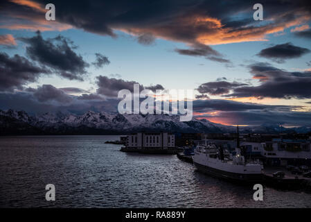 Sunset over Sortland, Lofoten Islands, Norway. - Stock Photo