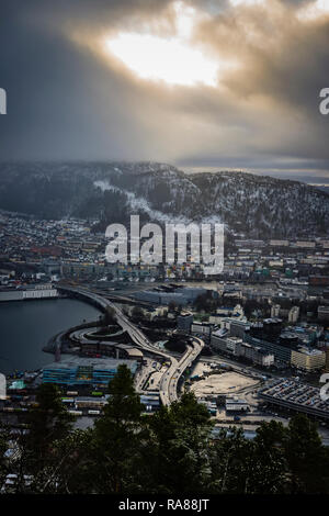 Aerial image of Bergen road infrastructure Norway. - Stock Photo