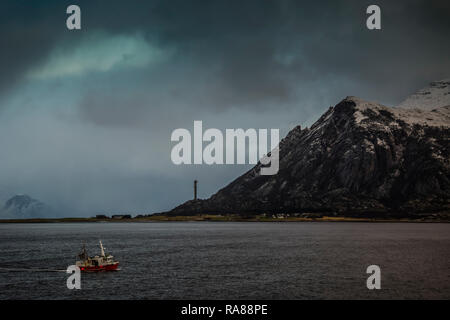 Lone fishing boat near Ornes, Norway. - Stock Photo