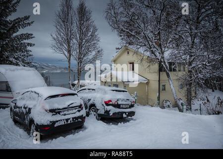 Heavy snow fall at Finnsnes, Norway. - Stock Photo