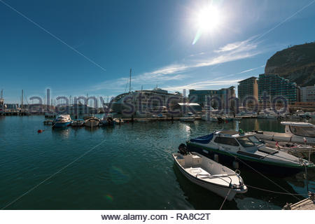 Gibraltar, United Kingdom - May, 15, 2017: View looking out over a dock in Gibraltar - Stock Photo
