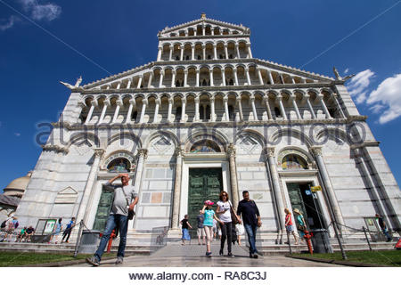 pisa, Italy - May, 17, 2017: Tourists walking around the Pisa Cathedral during summer. - Stock Photo