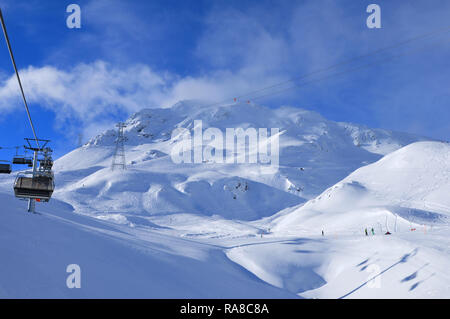 Panoramic swiss alps mountain view from Weissfluhjoch above the famous Swiss Alps Wintersport region Davos-City - Stock Photo