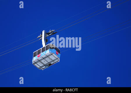 Switzerland: The Parsenn Gotschna cable car in Davos - Stock Photo
