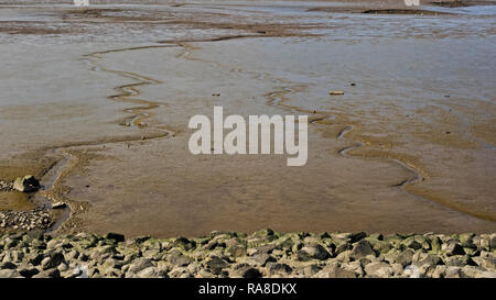 Mudflat in the mouth of river Weser at low tide - Stock Photo