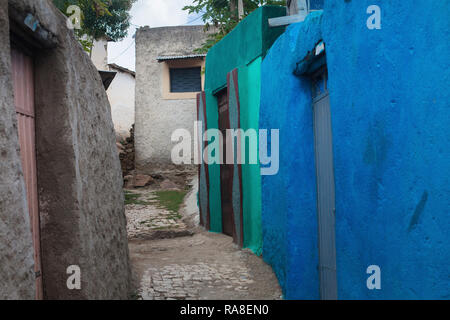 Harar, Harerge / Ethiopia - May 04 2017: A small street in the town of Harar, Ethiopia. - Stock Photo