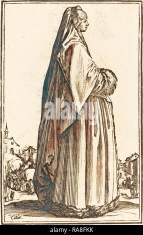 after Jacques Callot, Noble Woman Wearing a Veil and a Dress Trimmed in Fur, woodcut. Reimagined by Gibon. Classic reimagined - Stock Photo