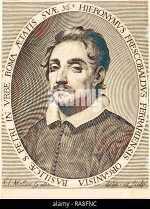 Claude Mellan (French, 1598 - 1688), Girolamo Frescobaldi, 1619, engraving on laid paper. Reimagined - Stock Photo