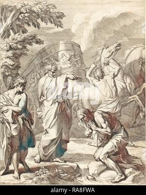 Louis Cheron (French, 1660 - 1725), Baptism of the Eunuch, etching. Reimagined by Gibon. Classic art with a modern reimagined - Stock Photo