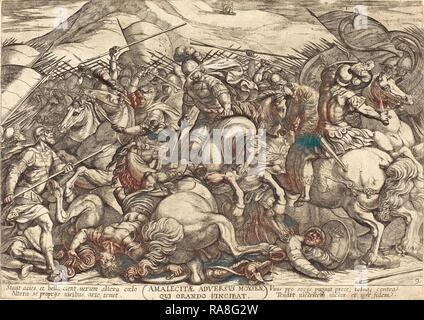 Antonio Tempesta (Italian, 1555 - 1630), The Defeat of the Amalikits by the Hebrews, 1613, etching. Reimagined - Stock Photo