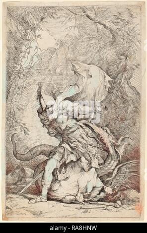 Salvator Rosa (Italian, 1615 - 1673), Jason and the Dragon, c. 1663-1664, etching and drypoint. Reimagined - Stock Photo