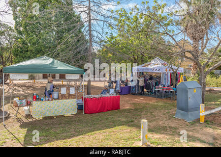 CLANWILLIAM, SOUTH AFRICA, AUGUST 28, 2018: Street vendor stalls in Clanwilliam in the Western Cape Province - Stock Photo