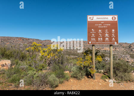 PAKHUIS PASS, SOUTH AFRICA, AUGUST 28, 2018: An information board on the Pakhuis Pass in the Cederberg Mountains near Clanwilliam in the Western Cape  - Stock Photo