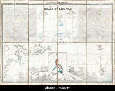 1852, Coello, Morata Case Map of the Philippines No. 3. Reimagined by Gibon. Classic art with a modern twist reimagined - Stock Photo