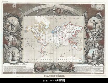 1852, Levasseur Map of the World. Reimagined by Gibon. Classic art with a modern twist reimagined - Stock Photo