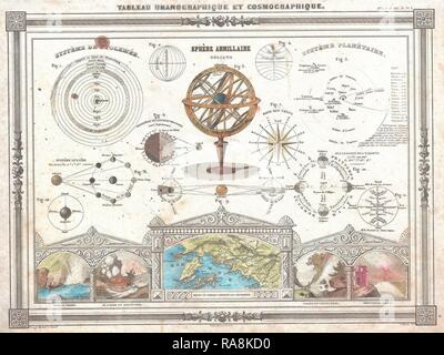 1852, Vuillemin Astronomical and Cosmographical Chart. Reimagined by Gibon. Classic art with a modern twist reimagined - Stock Photo