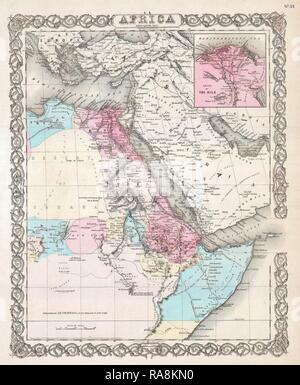 1855, Colton Map of Northeastern Africa. Reimagined by Gibon. Classic art with a modern twist reimagined - Stock Photo