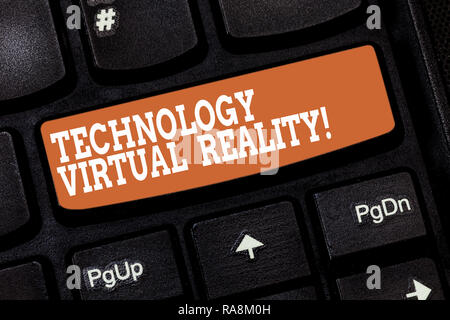 Handwriting text writing Technology Virtual Reality. Concept meaning interactive computergenerated experience Keyboard key Intention to create compute - Stock Photo