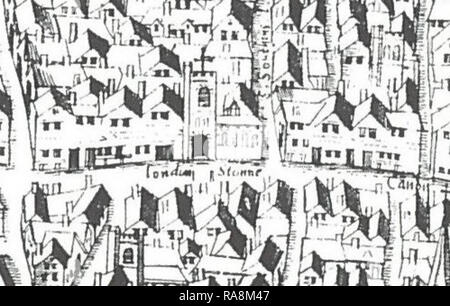 St Swithin's Church and London Stone as shown on the 'Copperplate' map of c.1553–59 - Stock Photo